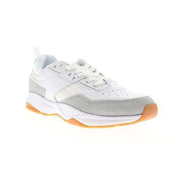 DC E.Tribeka SE  Mens White Leather Lace Up Athletic Skate Shoes
