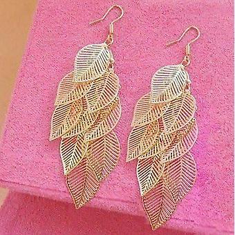 Baumelnde Blatt Kronleuchter Ohrringe in Gold oder Silber