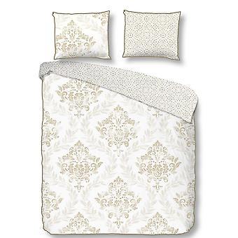 Set Olufunmilayo White Color, Beige in Raso, Stoffbezug: L200xP220 cm, Federa: L60xP70 cm (2 Stück)
