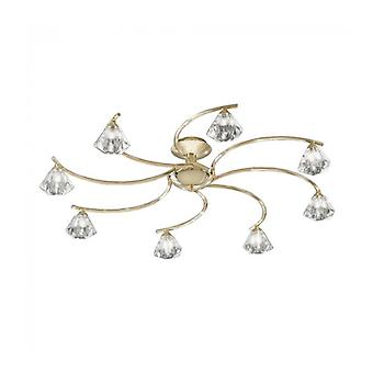 Twista Crystal Brass Ceiling Light 8 Bulbs
