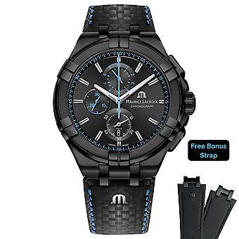 Maurice Lacroix Aikon Chronograph Quartz Black Dial Black Leather Strap Men's Watch AI1018-PVB01-337-1 RRP £1,190