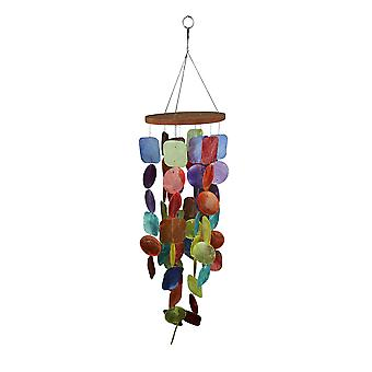 Multicolor Dyed Capiz Shell 26 Inch Long Wind Chime Garden Patio Yard