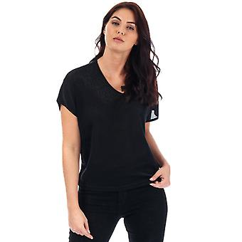 Frauen's Vero Moda Denise Metallic V-Neck Top in schwarz