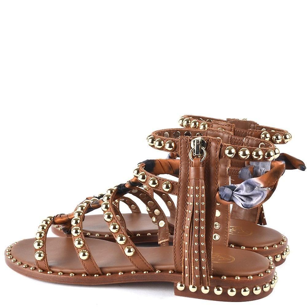 Ash Footwear Pareo Brown Leather Studded Sandals - Gratis verzending sFWkyV