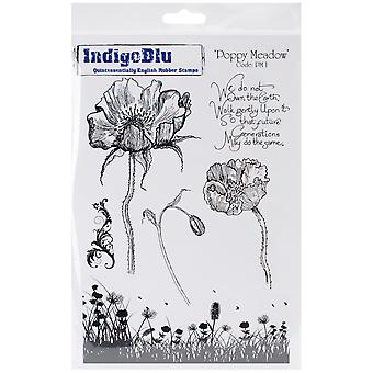 "IndigoBlu Cling Mounted Stamp 9.25""X6.25""-Poppy Meadow"