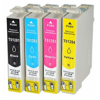 RudyTwos Replacement for Epson Fox T1285 Set Ink Cartridge Black Cyan Magenta & Yellow Compatible with S22, SX125, SX130, SX230, SX235W, SX420W, SX425W, SX430W, SX435W, SX438W, SX440W, SX445W, SX445WE