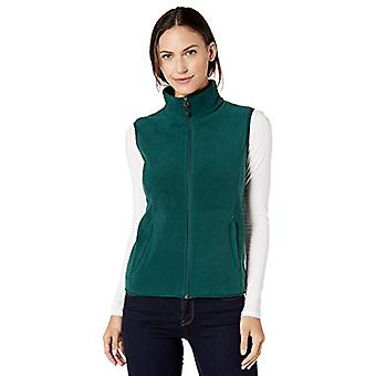 Essentials Women's  Full-Zip Polar Fleece Vest, Deep Pine, Large