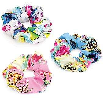 Flower Print Elasticated Hair Scrunchie Pink Blue White