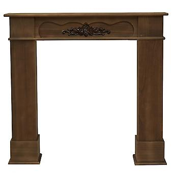 Rebecca Furniture Cheminée Cadre décoratif Classique Brown Wood 100x105x21
