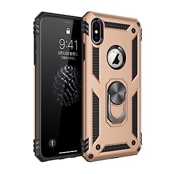 R-JUST iPhone 7 Plus Case - Shockproof Case Cover Cas TPU Gold + Kickstand