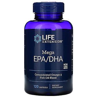 Extensión de vida, Mega EPA/DHA, 120 Softgels