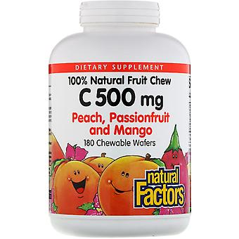 Natural Factors, 100% Natural Fruit Chew Vitamin C, Peach, Passionfruit and Mang