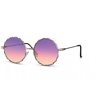 النظارات الشمسية السيدات جولة القط بلا حواف. 2 الذهب / البنفسجي