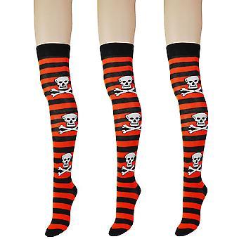 Frauen's Gothic Schädel dicken Streifen über dem Knie hohe Kostüm Socken 4-6 UK