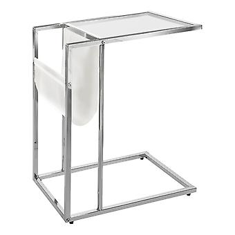 WHITE / CHROME METAL ACCENT TABLE WITH A MAGAZINE HOLDER