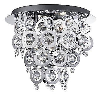 3 Light Flush Ceiling Light Chrome, E14