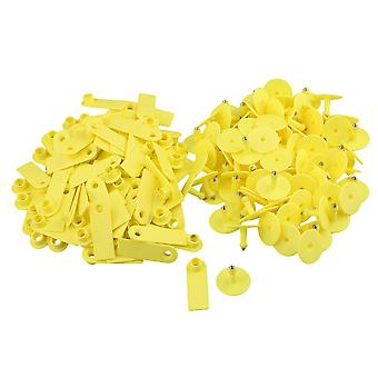 52x18mm Yellow Ear Tag for Pig Cow Cultivation Set of 100