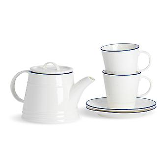 Nicola Spring 5 Piece Country Farmhouse Tea for Two Set - White Porcelain Teapot, Teacups and Saucers with Blue Rims