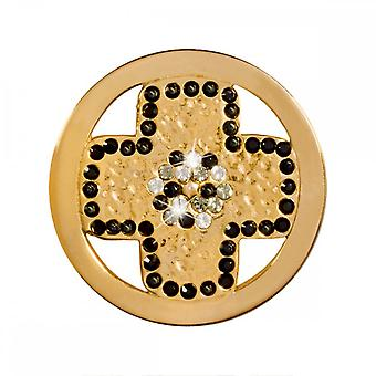 Nikki Lissoni Black Cross Small Gold Plated Coin C1380GS