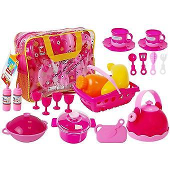Lelukeittiösetti 31-osainen - lasten keittiöihin - vaaleanpunainen