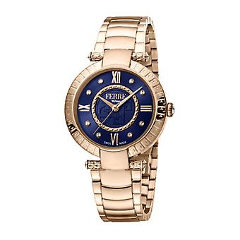 Ferre Milano Women's FM1L104M0091 Blue Dial Rose-Gold IP Stainless Steel  Watch