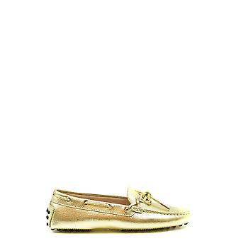 Tod's Ezbc025129 Women's Gold Leather Loafers