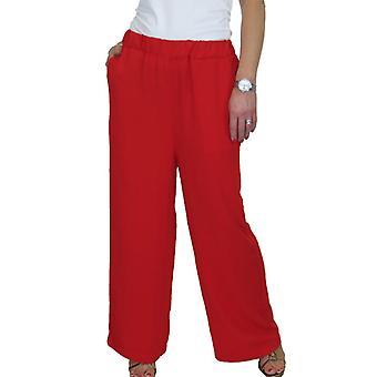Frauen's hoch taillierte weite Bein Hose Damen elastische Taille ziehen auf Palazzo Hose Casual Loungewear Abend 12-22