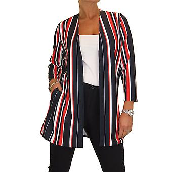 Women's Open Front Soft Lightweight Long Jacket Ladies 3/4 Length Sleeve Jacket Multi Stripe Red Navy Blue 10-20