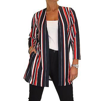Femmes's Open Front Soft Lightweight Long Jacket Ladies 3/4 Longueur Veste manches Multi Stripe Red Navy Blue 10-20