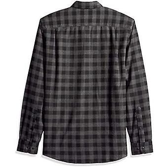 Essentials Men's Slim-Fit Long-Sleeve Plaid Flannel Shirt, Charcoal Bu...