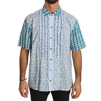 Blue deck of card formal cotton dress shirt