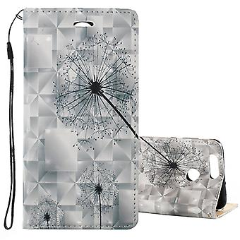 Pour Huawei nova 2 Plus 3D Relief Dandelion Pattern Magnetic Adsorption Horizontal Flip Leather Case with Holder & Fentes de carte & Longe