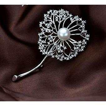Freshwater Flower Pearls Pin Dandelion Shaped White-copper Jewelry Brooches