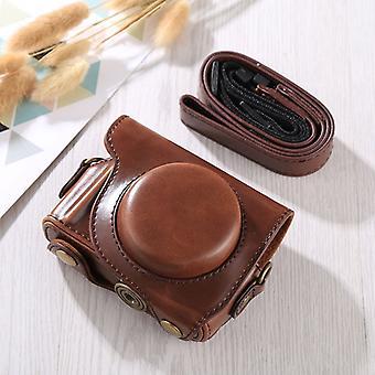 Full Body Camera PU Lederen tas met riem voor Canon G9X / G9X II (Koffie)