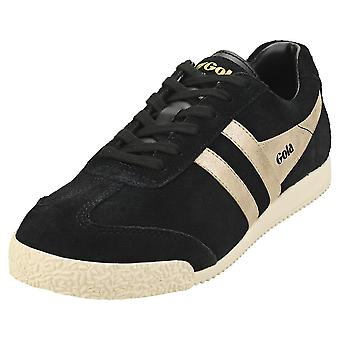 Gola Harrier Mirror Womens Classic Trainers in Black Gold