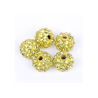 10 Stk Großhandel 10mm Gold Shamballa Kristall Pave Clay Disco Ball/Perlen Tschechische