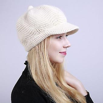 100% Merino Wool Newsboy Winter Hats, Visor Beret Cold Weather Knitted Caps
