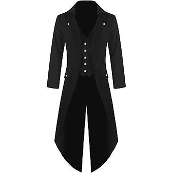 Men Vintage Gothic Long Jacket, Autumn Retro Cool Uniform Costume, Trench