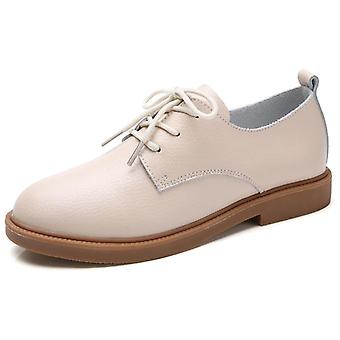 المتسكعون الراحة شقة جلدية حقيقية الأحذية،ق الدانتيل حتى امرأة Moccasins أكسفورد