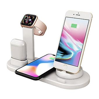 FDGAO 4 in 1 Charging Station for Apple iPhone / iWatch / AirPods - Charging Dock 10W Wireless Pad White