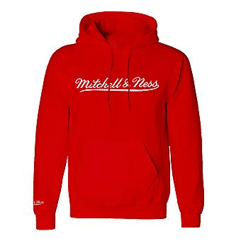Mitchell & Ness Script Red White Logo Hoodie Mens Hooded Pullover Jumper A40A