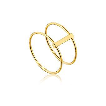 אניה Haie כסף מצופה זהב בציפוי מודרני טבעת כפולה R002-05G