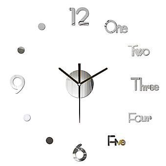3D diy pared reloj decoración pegatina espejo sin marco diy pared reloj kit para la sala de estar en casa dormitorio decoración de oficina