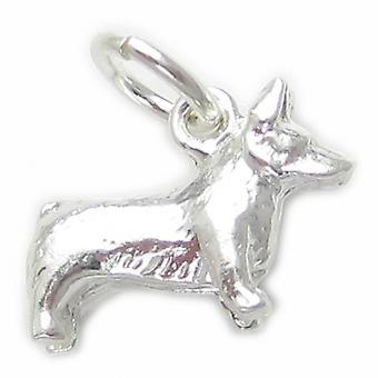 Corgi Hund Sterling Silver Charm .925 X 1 Tiny Corgis Dogs Charms - 4561