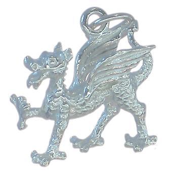 Dragon Sterling Sølv Charm 0,925 X 1 Wales walisiske Dragons Charms