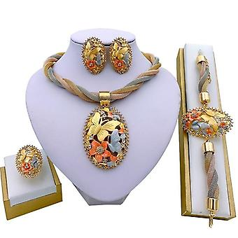 African Jewelry Charm Necklace Earrings Dubai Gold Jewelry Set