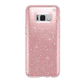 Speck Products Presidio Clear + Glitter Cell Phone Case for Samsung Galaxy S8 Plus - Rose Pink With Gold Glitter