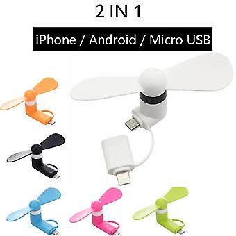 Kannettava 2 in 1 Mini Soft Phone -tuuletin iphone Android Micro Hanldheld -jäähdytykseen
