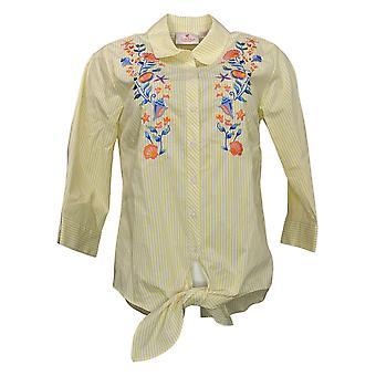Quacker Factory Women's Top XXS Embroidered Striped Button Yellow A378566