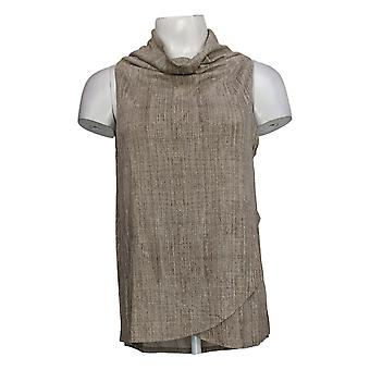 Lisa Rinna Collection Women's Top Texture Print Drape Front Tank A309348